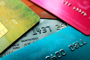 Stack-of-multicolored-credit-cards-close-up-view-with-selective-focus